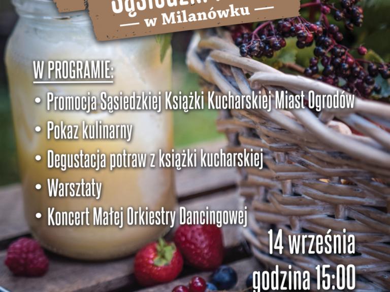 Plakat promujący Sąsiedzki Piknik w Milanówku