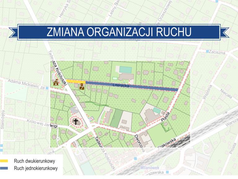 Mapka przedstawiająca zmianę organizacji ruchu na ul. Literackiej