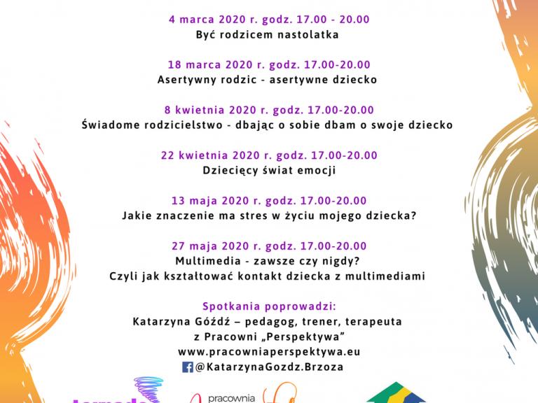 Plakat promujący otwarte spotkania profilaktyczne w Milanówku
